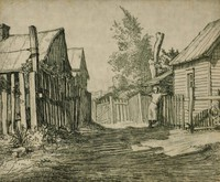 This etching is created with black ink on paper. It pictures a residential alley with fences behind houses on both sides, two houses on the left and two on the right. In the alley, a woman leans on the fence at the right, facing away from the viewer. There is also a fence at the end of the alley, above which are a laundry line and trees.