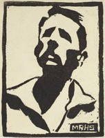 Man with Mustache, M. R. Hubbert Smith, linocut