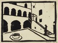 Courtyard Scene, M. R. Hubbert Smith, linocut