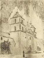 Spanish-Style Church, M. R. Hubbert Smith, etching