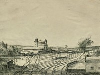 This image is created with black ink on cream paper. Train tracks stretch from the foreground to the background of the composition, with a few small buildings in the foreground at the left and right of the image. Only a few trains can be seen in front of the train station building, which is pictured at the center left of the image with two towers and a great dome. The sky is clear.