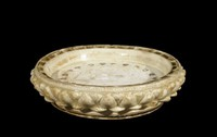 Lotus petal dish, incised lotus design on unglazed upper surface, ivory glaze.