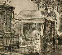 This image is created with black ink on paper. Two women stand in a yard, with one speaking over a fence and the other speaking off of the porch of a house. To the left of these women is another, unoccupied porch with a porch swing. The yard is fenced, and the view of the woman standing on the ground speaking is partially obscured by the fence's wire. A wired gate is to the right of the wire fence, and behind it on the right of the composition is a leafy tree.