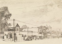 This image is created with black ink on paper. This print represents a street corner and a view down a street toward Birmingham's downtown skyline, with the City Federal building seen in the distance. On the corner stands a corner store with signs for Buffalo Rock Ginger Ale, Coca Cola, and Nehi sodas. These signs are all reversed. Down the left side of the street runs a group of buildings, including a café, a two story building, and a church. A power line stands in front of the corner store and runs down the streets on either side of the corner. There is a large, leafy tree at the left side of the composition.