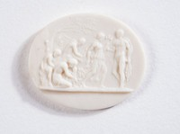 Oval white jasper cameo with relief scene of five figures under a tree