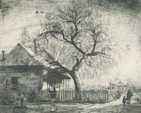 This image is created with black ink on paper. In it a woman stands in front of a fence, tending a pig. Behind the fence is a house with a porch and a tree with no leaves. The fence turns a corner, and on the street beyond the fence a man and a young child walk. Additional houses can be seen in the distance.