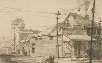 This image is created with black ink on paper. It shows a corner store with a sign for Nehi cola above its awning. To the right of the corner store is a two story building with a second story porch, possibly a domestic building. To the left of the corner store (behind it and down the street) are two small buildings and then a church with a steeple and a tower. Power lines run across the image. Two children play in the foreground, and a woman walks down the street to the left of the corner store toward the church.