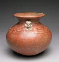 Burnished, globular, earthenware vessel with reddish clay body and polychrome has wide, flaring mouth, small appliquéd human figure where shoulder joins rim, and geometric patterns in red outlined in black on shoulder.