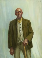 A three-quarters length portrait of an elderly black man against a light blue background. He is bald and has thick white eyebrows and a white moustache. He wears black trousers and an olive green jacket over grey cardigan sweater and mustard yellow shirt with a buttoned collar. He is supported by a wooden crook cane which he holds with his left hand. The man addresses the viewer directly with his gaze. He appears to have a cataract in his proper right eye, which is milky white in contrast to his dark brown left eye.