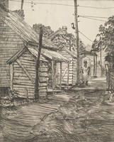 This image is created with black ink on paper. A woman walks down the center of an alley, with a series of domestic buildings on her left and a wire fence to her right. She stands near a power pole, and power lines stretch across the top of the image.