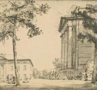 This image is created with black ink on paper. A view of the side of the portico of a classical revival building fills the right side of this print. In front of the building, a group of figures gather, and other figures lay beneath a tree in the foreground. Behind the tree and figures, part of another classically styled building with a portico is visible.