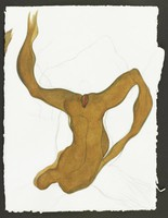 Brown abstract figure rendered upside down, with the head form at the bottom of the piece. The figure's legs are stretched wide apart, splitting the figure in the middle, an area that also resembles a vagina. However, the figure is androgynous, referencing both male and female forms.