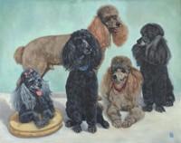Five Dogs, Eleanor Bridges, oil on canvas