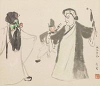 Hanging scroll with scene of several Peking Opera figures