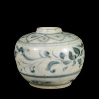 Small jar with lotus petals around rim and lotus scroll band in underglaze cobalt