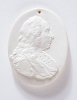 Oval medallion with relief profile portrait of Francesco Scipione (1675-1755), , the Italian writer, art critic, and antiquarian, who published many important early works on Etruscan art