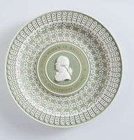 Tri-color jasper (sage green with white and lilac), commemorating the 25th anniversay of the Buten Museum of Wedgwood (1957-1982), signed on reverse by Lord Wedgwood