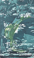 An abstract ground of aqueous blues and greens fill the image. An elongated, yellow and green plant form seems suspended on the top layer of the composition.