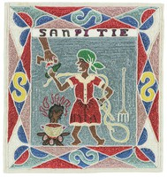"""Flag depicts woman in red dress and green headwrap, holding a bottle and a knife beside a fire with a kettle holding a human head. She represents a sorceress called """"caplata"""" (males called """"bokor""""). A hand holding an implement reaches down from the top of the flag toward the woman.  The words San Pitie (without mercy) run across the top of the image, just in side the border, which consists of diamonds, triangles, half-circles and S-shapes."""