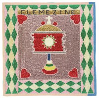 """Flag on pink satin depicts central motif of a monstrance against a square background of pink sequins, with a red heart in each corner of the square. Border consists of green, pink, and white diamonds, triangles, and half-circles. Monstrance motif associated with """"loa"""" Clemezine, and St. Claire."""