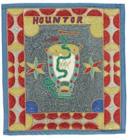 Flag has central motif of green serpent climbing a drum against silver background. Masonic symbol of square and compass with letter G in center of drum. Two stars flank drum. Border of half-circles and other shapes in red, gold, and silver sequins. At top of flag, inside border, the word HOUNTOR in blue and red sequins against gold background.