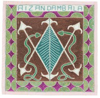 """White V-shape and inverted V-shape juxtaposed on brown background, with blue diamond shape with white chevron pattern forming the center. Two green snakes flank central motif. Flag design incorporates the """"veve"""" patterns of both the """"loas"""" Damballah and Aizan; names AIZAN DAMBALA in blue block letters on white band across top of flag. Border of green half circles against purple background."""