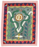 """Flag bears the traditional """"veve"""" pattern of the """"loa"""" Damballah. Depicts two snakes, with an egg between them. Two leafy plants flank the snakes, and flag is bordered by alternating red and blue triangles."""