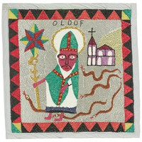 """Flag depicts St. Patrick at center, flanked by snakes representing Damballah, with church to right, signed """"OLDOF."""" Silver background bordered by red and black triangles with yellow and green triangles in the corners."""