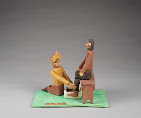 Jesus Washing Feet, Fred Webster, painted wood