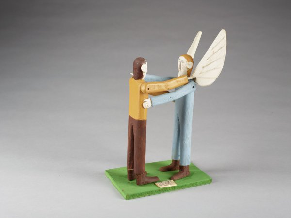 Job with Angel, Fred Webster, painted wood