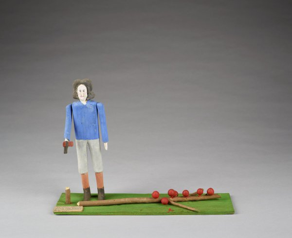 George Washington Chopping Down Cherry Tree, Fred Webster, painted wood