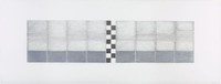 On two sheets of paper that abut, a large horizontal rectangle filled with seven vertical rectangles made of lines, hatches, and solid areas appears. The vertical rectangle in the center is filled with a black and white checkerboard pattern.