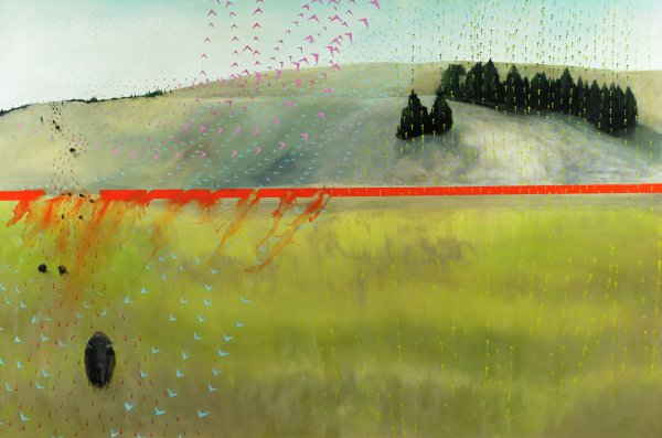 Prairie scene with stand of evergreens in upper right; buffalo traverse the left side of canvas from background to foreground. Red line divides canvas horizontally; red pigment bleeds from the line diagonally toward lower half of canvas. Pink and blue V-shapes evoking birds fly in wavy and swirling lines that traverse canvas from top to bottom. Lines of red arrows flow from top to bottom together with the buffalo; yellow and green arrows travel canvas from bottom to top, toward trees; white arrows form circular swirls in the sky.