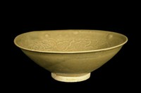 Bowl with molded peony decoration.