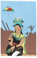 Seated woman wearing Corn Maiden regalia including tableta headdress, looking at cell phone; adobe pueblo architecture in background with satellite dish, telephone line, and stylized cloud with falling raindrops.
