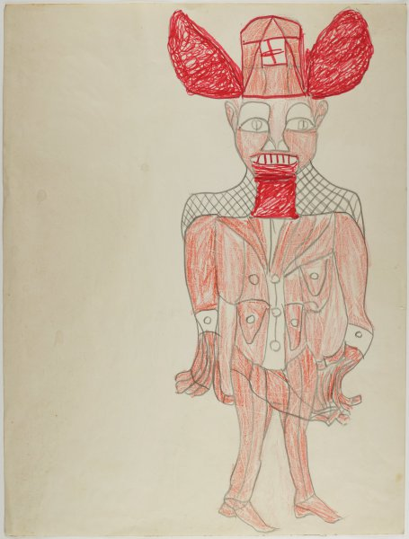 Red Cowboy, Henry Speller, pencil and crayon on paper