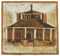 Untitled (Brown Building with Black Roof and White Columns), Jimmy Lee Sudduth, paint and mud on wood board
