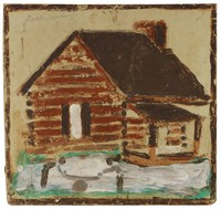 Untitled (Log Cabin with Two Children on Teeter Totter), Jimmy Lee Sudduth, paint and mud on wood board
