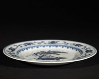 Chinese export ware plate with banana tree decoration