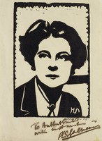 Eva Le Gallienne, M. R. Hubbert Smith, linocut