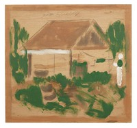 Untitled (Small Cabin with Figure), Jimmy Lee Sudduth, paint and mud on wood board