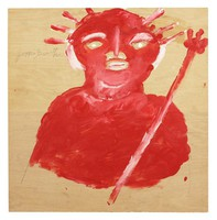 Statue of Liberty (Red Bust), Jimmy Lee Sudduth, paint and mud on wood board