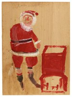 Santa (by Chimney), Jimmy Lee Sudduth, paint and mud on wood board