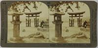Where Tides Climb Temple Stairs — Famous Sacred Torri Gateway to Shinto Shrine, Miyajima, Japan, Keystone View Company, gelatin silver prints mounted on card
