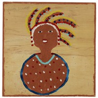 Untitled (Bust with Feathered Headdress/Indian Princess?), Jimmy Lee Sudduth, paint and mud on wood board