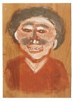 Untitled (Bust of Smiling Man), Jimmy Lee Sudduth, paint and mud on wood board