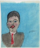 """Untitled (Man), Shields Landon (""""S.L."""") Jones, ink and oil pastel or crayon on paper"""