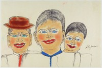 """Untitled (Man with Hat and Two Women), Shields Landon (""""S.L."""") Jones, ink and oil pastel or crayon on paper"""