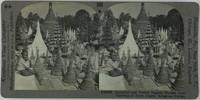 Beautiful and Varied Pagoda Shrines from Stairway of Shwe Dagon, Rangoon, Burma, Keystone View Company, gelatin silver prints mounted on card