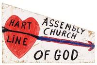 Untitled (Hartline Assembly Church of God Sign), Reverend Benjamin Franklin Perkins, acrylic on chipboard